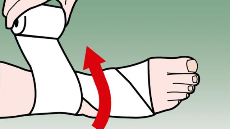 3. Sau đó, quấn 2 vòng quanh phần cổ chân phía trên mắt cá để tạo thành một điểm neo.