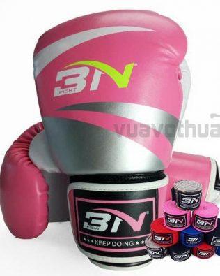 [COMBO] – Găng Boxing BN HỒNG và băng đa quấn tay BN HỒNG