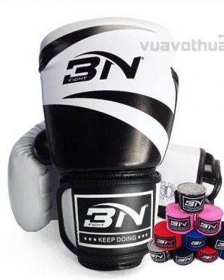 [COMBO] – Găng Boxing BN TRẮNG và băng đa quấn tay BN ĐEN